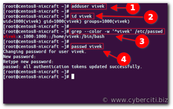 Create new user account in centos linux