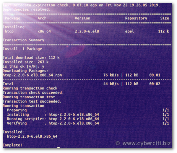 Installing htop on CentOS 8 Linux server using yum