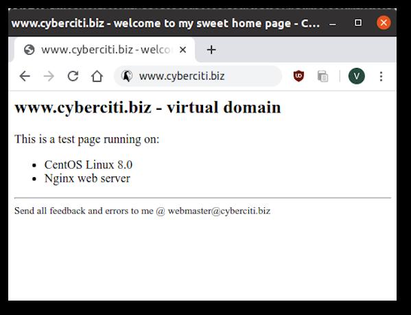 Nginx Virtual Domain Testing on CentOS 8