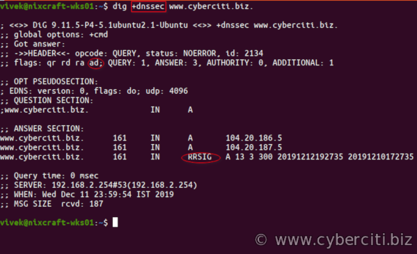 Validate dnssec using dig on Linux
