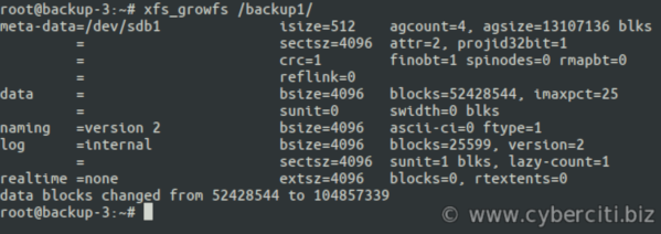 Linux extend file system using xfs_growfs for XFS