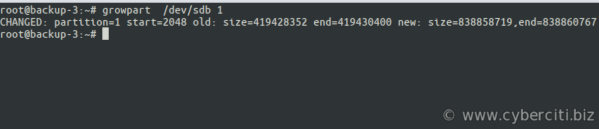 Linux extend the partition on the disk volume using growpart command