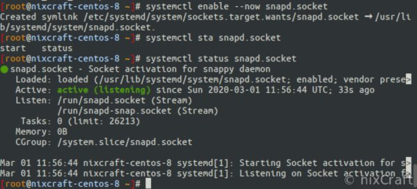 LXD on RHEL 8.x - Enable snapd.socket