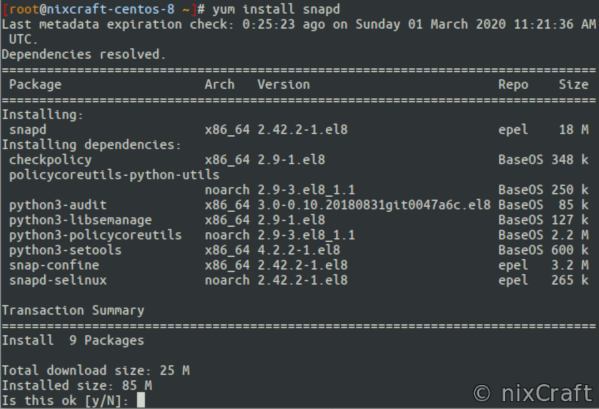 Install snapd on a CentOS or RHEL 8 using yum