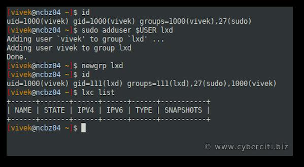 Add user to LXD to run lxc commands on Ubuntu