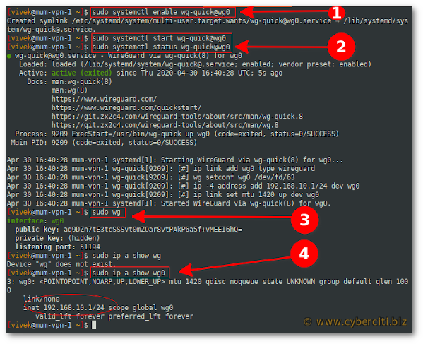 Debian 10 set up WireGuard and verification commands for wg0