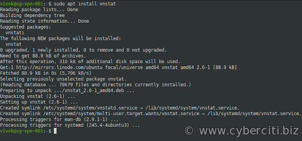 How to Ubuntu install vnstat using apt-get command