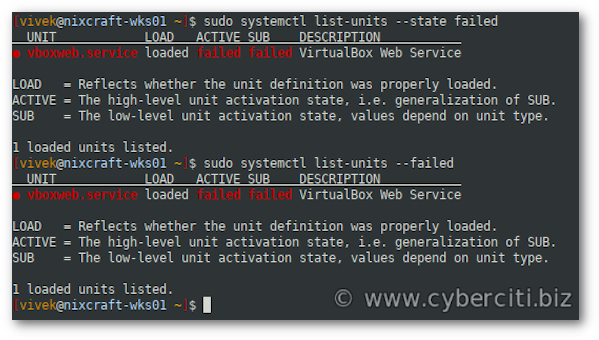 Linux systemctl list all failed units or services command