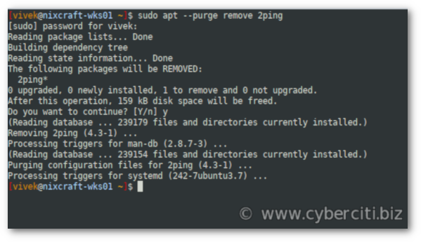 Linux uninstall package using apt command