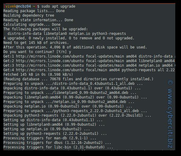 Ubuntu 20.04 update installed packages apt-get command