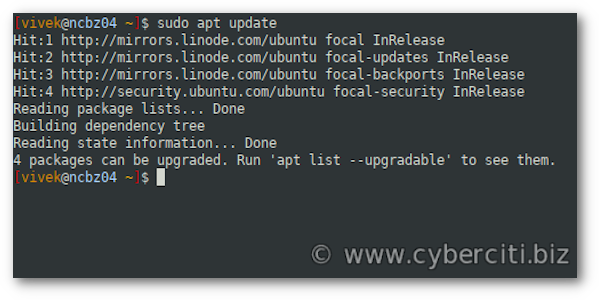 Ubuntu update package information using the apt command