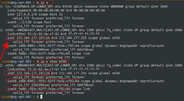 ip command get my IP address on Ubuntu Linux 20.04 LTS