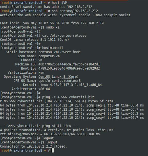 CentOS 8 Cloud Image KVM Verification