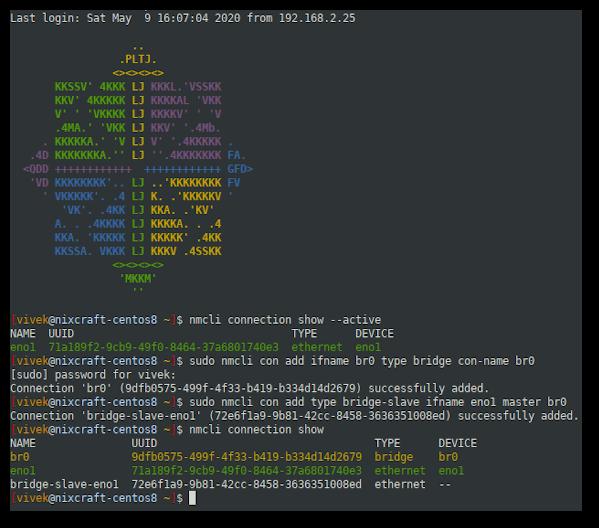 CentOS 8 add network bridge using nmcli command