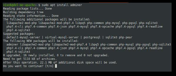 How to install Adminer on Ubuntu 20.04 Linux using apt command