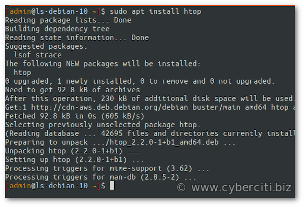Install htop on Debian using pkg command