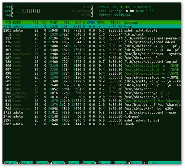 Running htop on Debian Linux 8, 9 and 10 cloud server