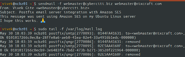 Ubuntu Linux Postfix Amazon SES verification