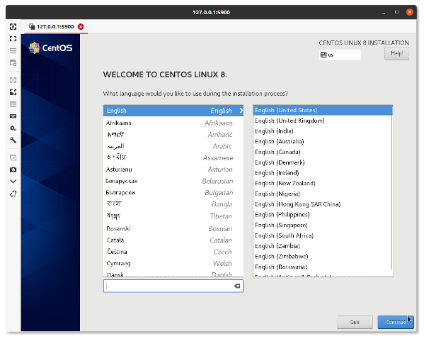 Welcome to CentOS Linux 8 guest installation