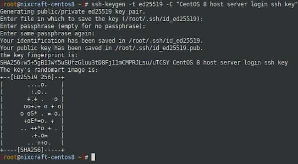 ssh keys for CentOS 8 headless server