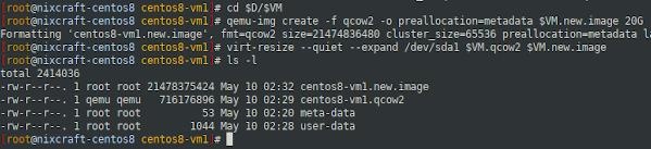 virt-resize on CentOS 8 headless KVM server
