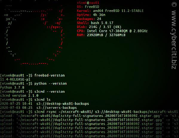 FreeBSD s3cmd Test failed: [SSL: CERTIFICATE_VERIFY_FAILED] error and solution test