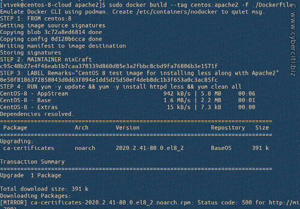 Build Docker or Podman Linux container for CentOS 8 and install less