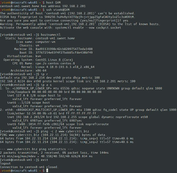 CentOS 8 VM created using Cloud Images on Ubuntu 20.04 LTS KVM server