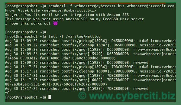 FreeBSD configure AWS SES with Postfix MTA and test it