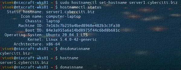 How to set change FQDN on Ubuntu 20.04 Linux
