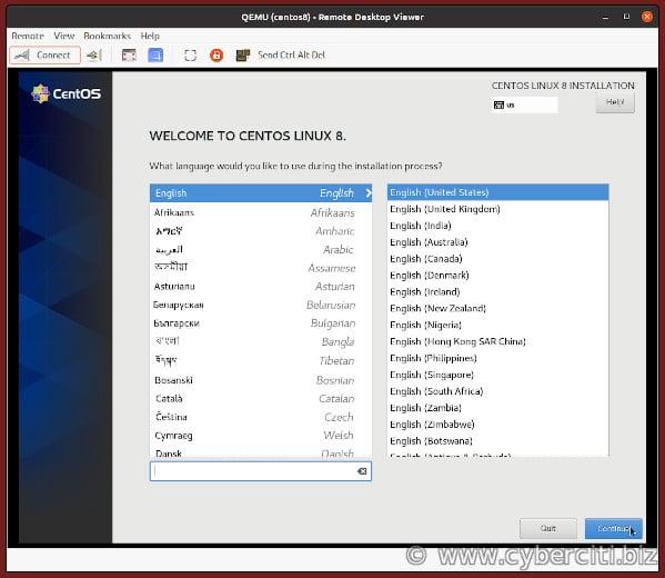 KVM VM CentOS 8 installation done over VNC