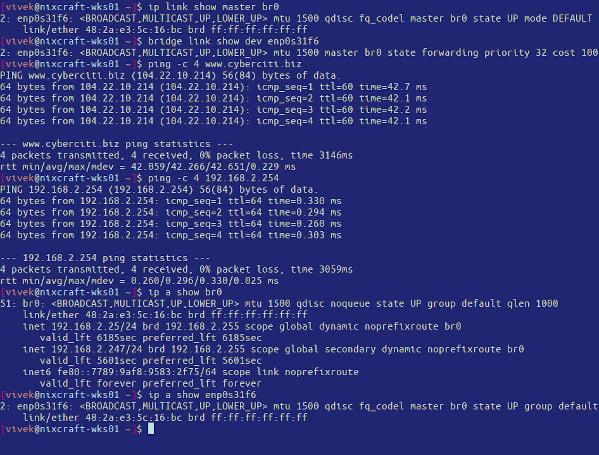 Verify and Create a Network Bridge in Ubuntu 20.04 Linux LTS server