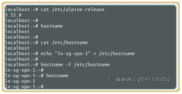 Alpine Linux Change Hostname computer name command