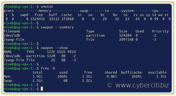 How to add swap file and display it on Linux commands