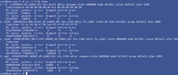 Displaying network link stats on Linux using ip
