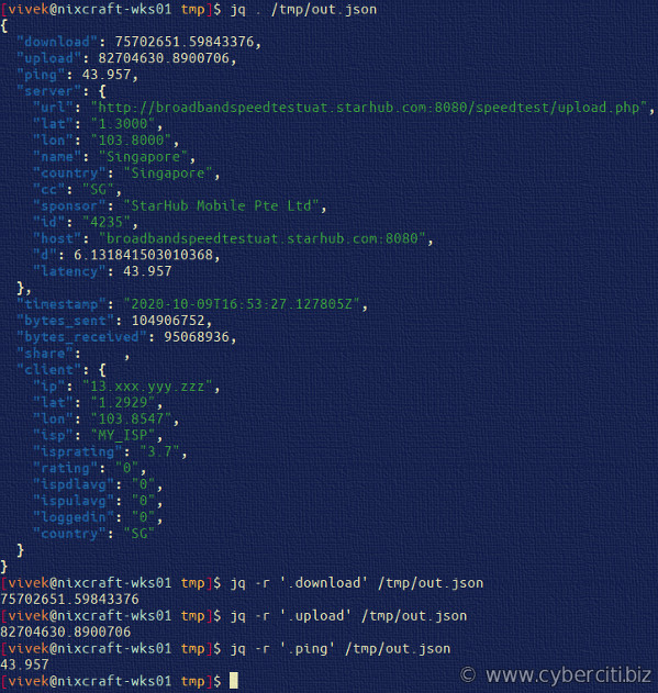 JQ and internet connection measurement for developers in JSON format