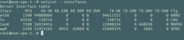 netstat show dropped packets per interface on Linux