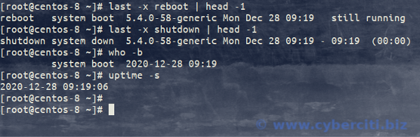 Best way to gracefully restart CentOS and finding last reboot time