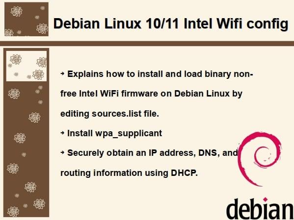 How to configure Intel Wifi Wireless card on Debian Linux
