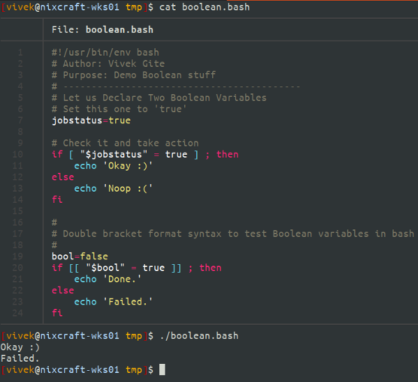 Linux Declare Boolean variables in bash and use them in a shell script