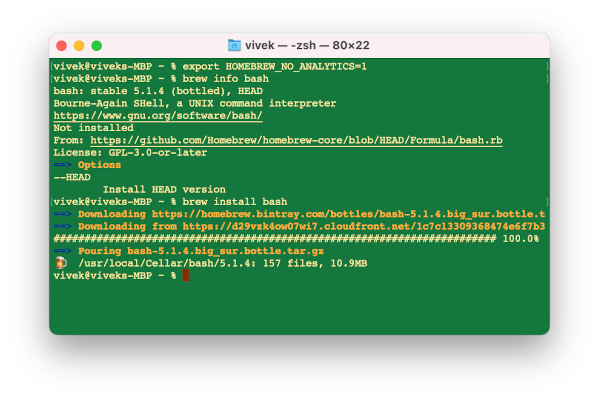 How To Install and Use Homebrew on macOS. Install bash