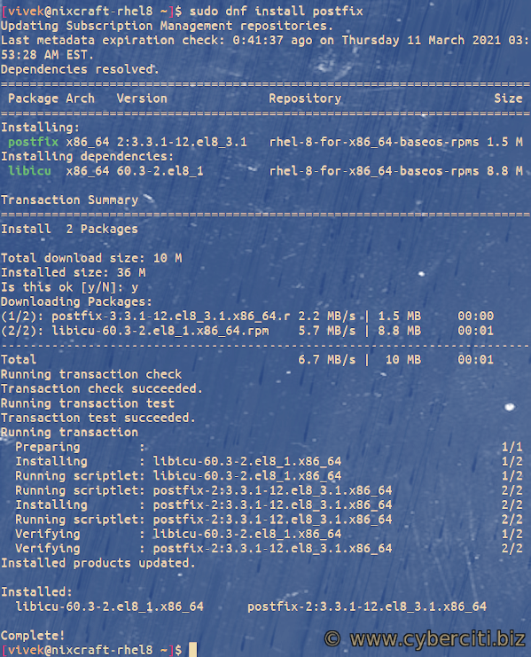 How to install Postfix and Amazon AWS SES on RHEL or CentOS 8 Linux