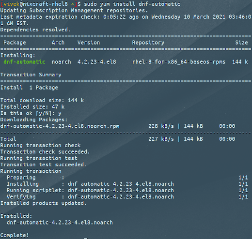 How to install and enable automatic updates for RHEL CentOS 8 server