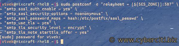 RHEL or CentOS 8 integrating Amazon SES with Postfix SMTP