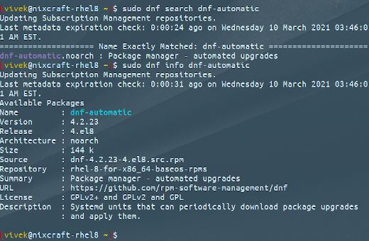 Search and Enable Automatic updates on RHEL 8, CentOS 8 and Fedora Linux