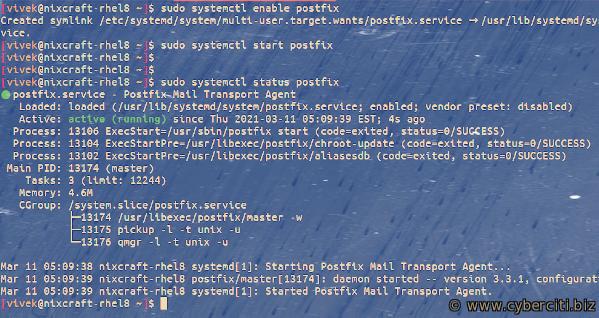 Starting and enabling Postfix on RHEL or CentOS 8 server