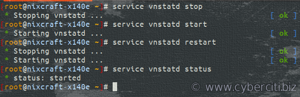 Starting and stopping vnstatd service on Alpine Linux