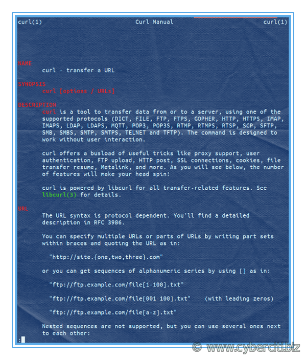 curl man page under Alpine Linux