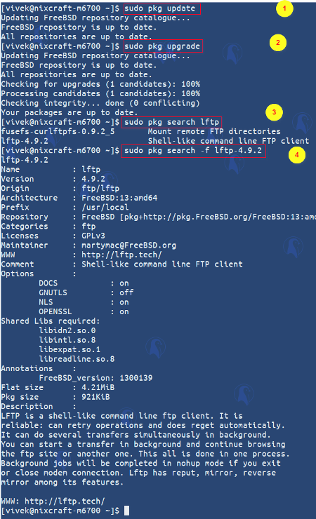 How to search lftp package on FreeBSD Unix system