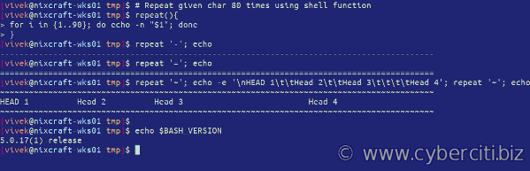 Shell - How can I repeat a character in Bash under Linux